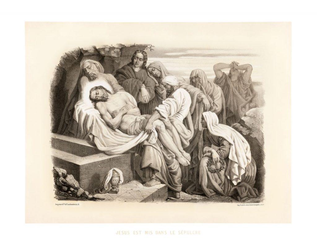 čtrnácté zastavení: Tělo Pána Ježíše ukládají do hrobu